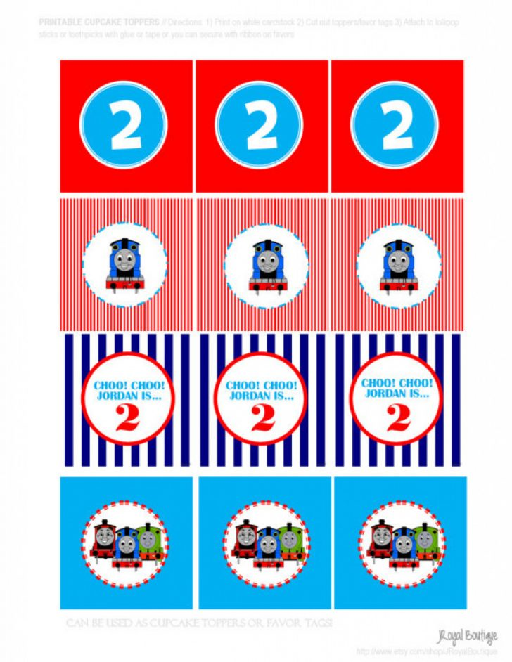 Free Printable Thomas The Train Cupcake Toppers