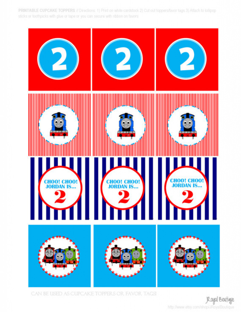 Thomas The Train Printable - Diy Customized Cupcake Toppers Favor - Free Printable Thomas The Train Cupcake Toppers