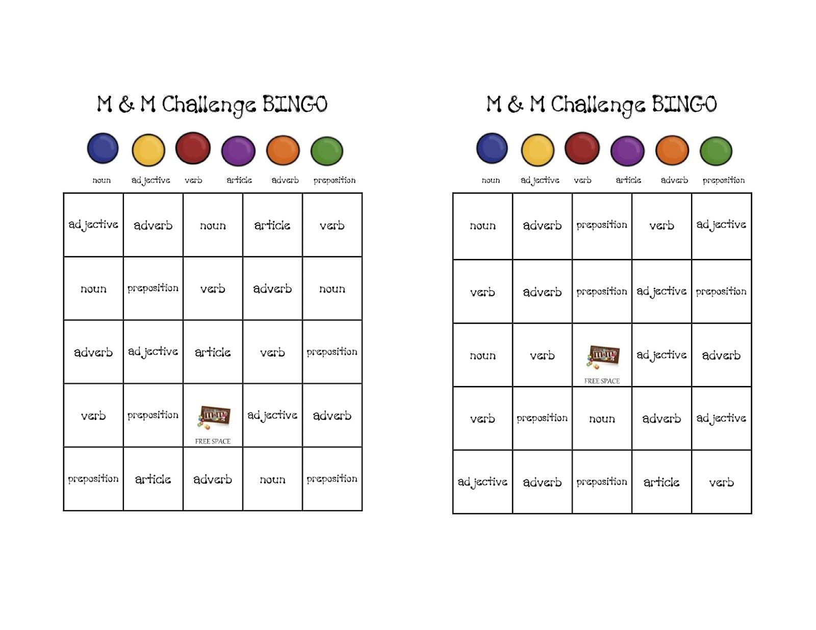 Three Week Fall: M&m Parts Of Speech Bingo - Free Printable Parts Of Speech Bingo