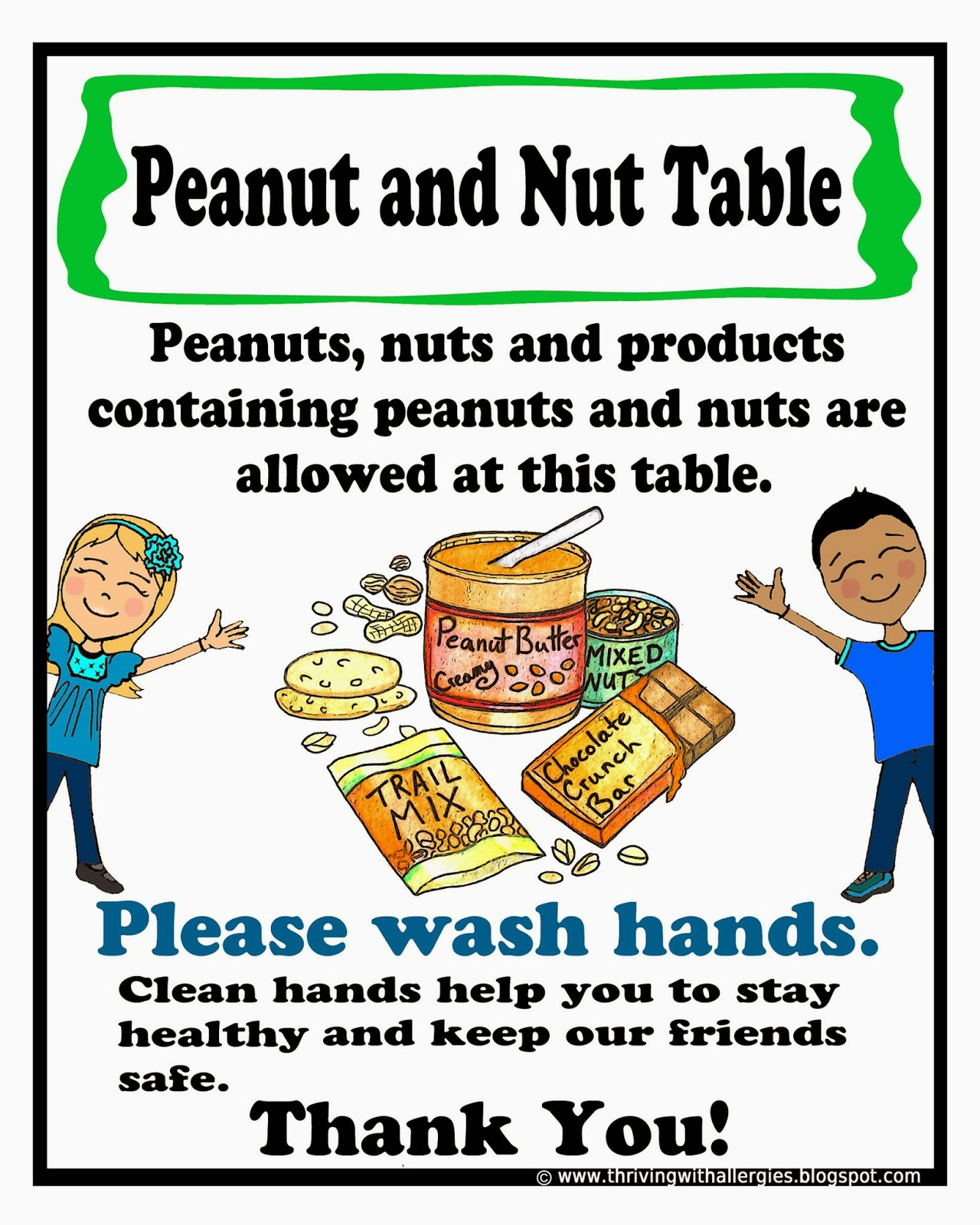 Thriving With Allergies: Peanut, Tree-Nut Free Classroom Poster - Printable Peanut Free Classroom Signs