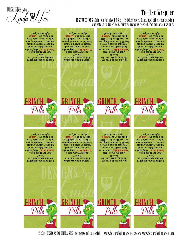 Tic Tac Grinch Pills With Poem Printabledesignsbylindanee - Grinch Pills Free Printable
