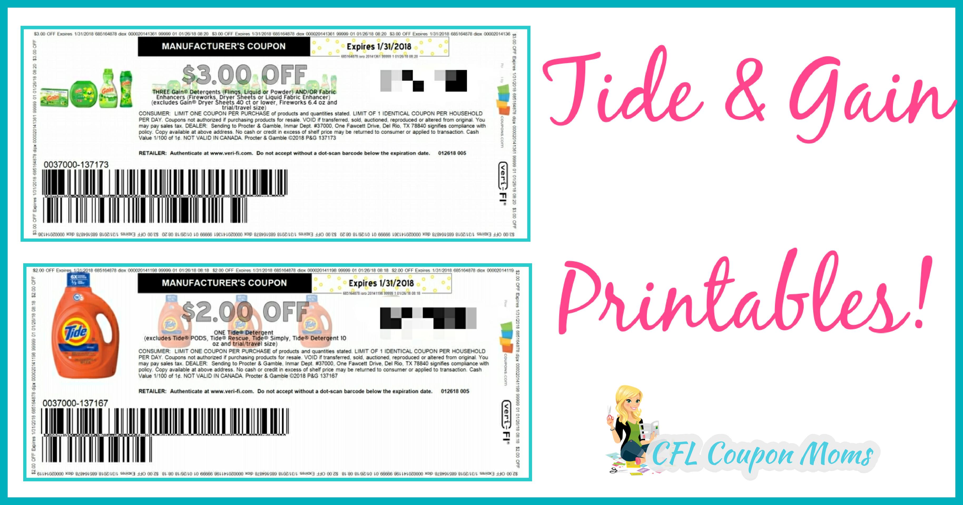 Tide & Gain Printables - Cfl Coupon Moms - Tide Coupons Free Printable