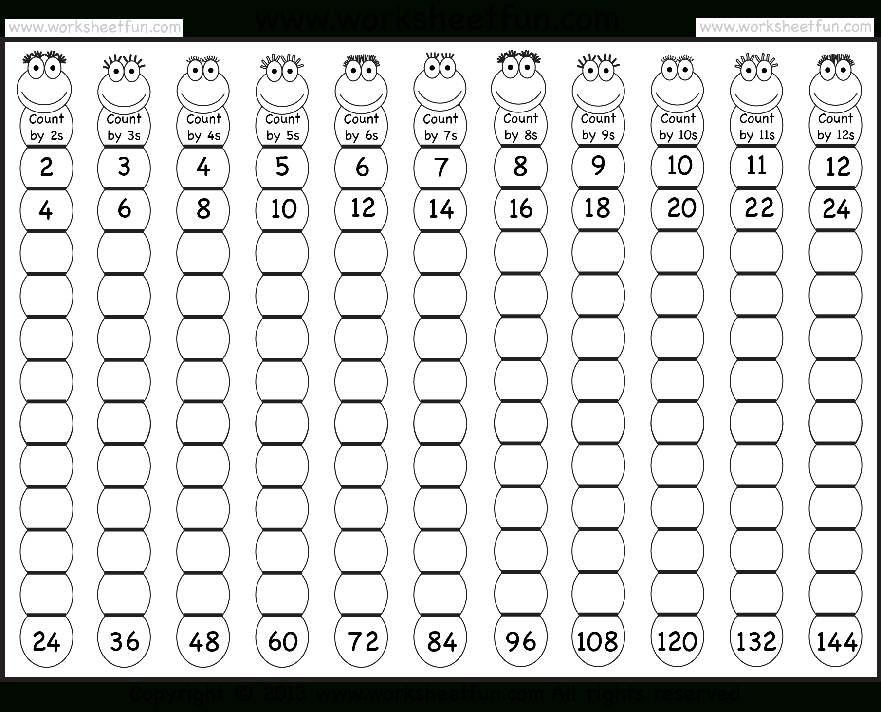 Times Table – 2-12 Worksheets – 1, 2, 3, 4, 5, 6, 7, 8, 9, 10, 11 - Free Printable Skip Counting Worksheets