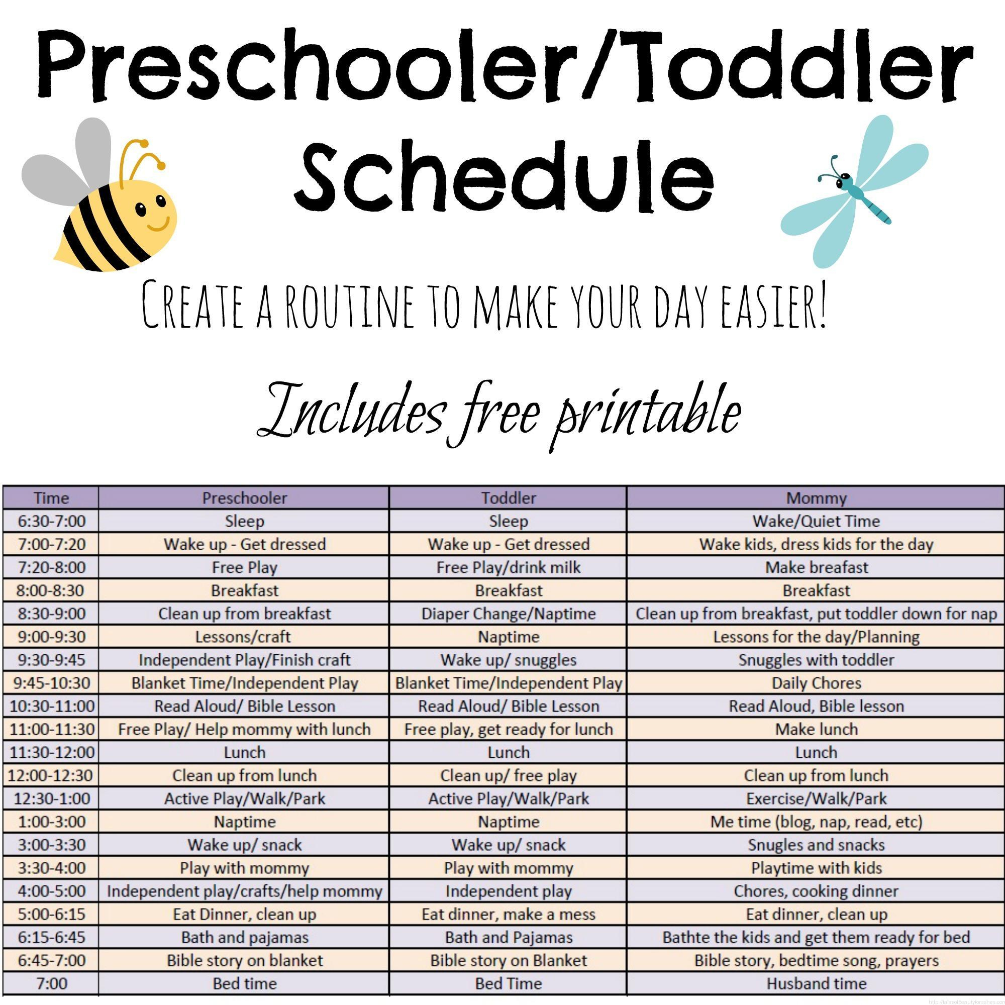 Toddler And Preschooler Daily Schedule - Tales Of Beauty For Ashes - Free Printable Picture Schedule For Preschool