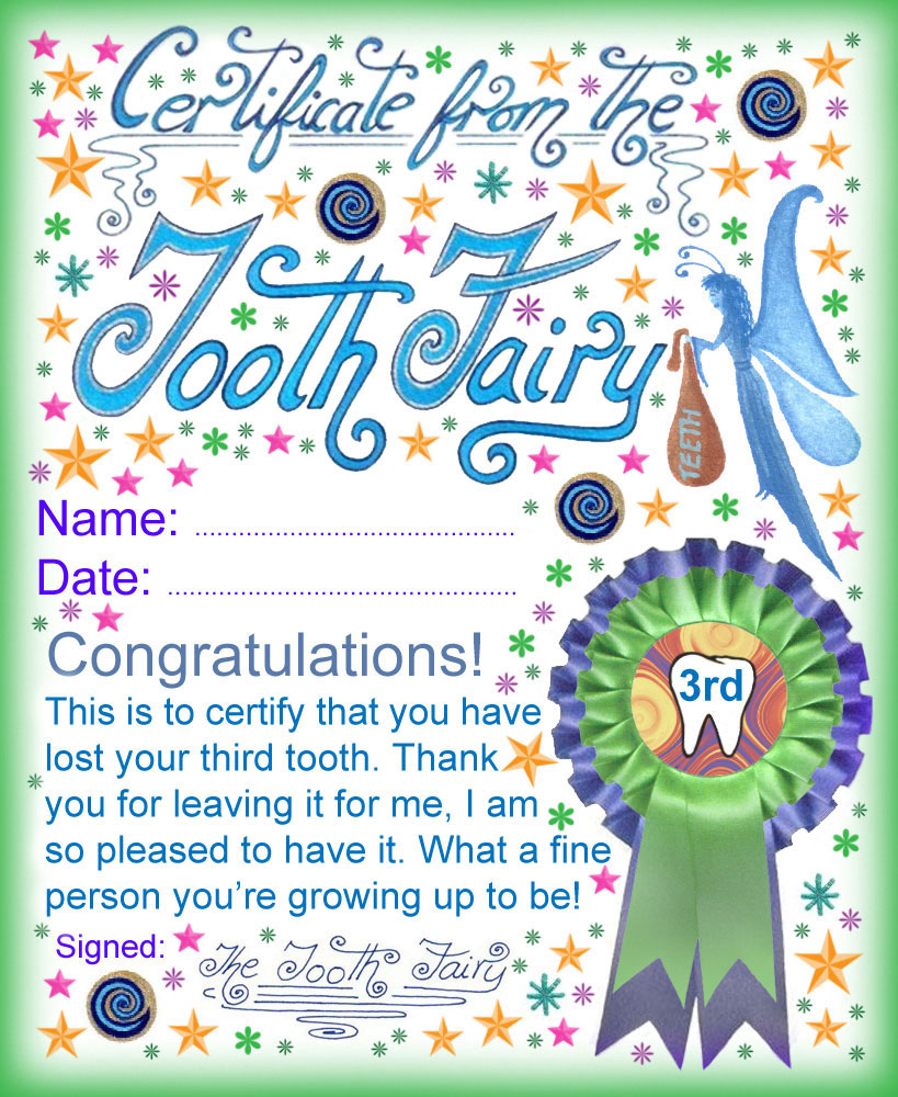 Tooth Fairy Certificate: Award For Losing Your Third Tooth   Rooftop - Free Printable Tooth Fairy Certificate