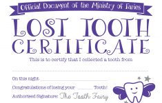Tooth Fairy Certificate - Baby Hints And Tips - Free Printable First Lost Tooth Certificate