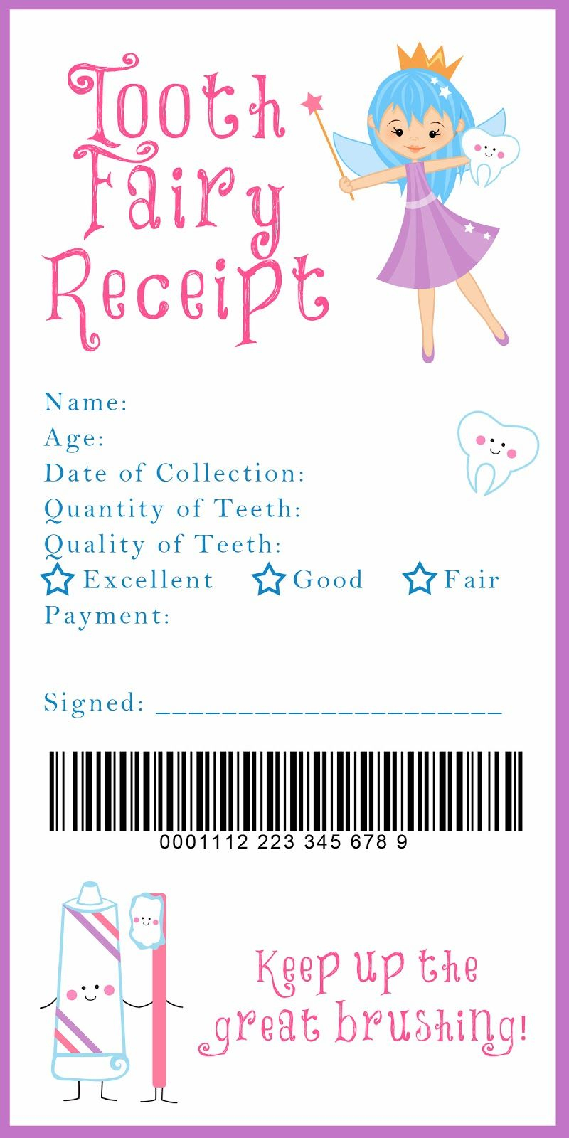 Tooth Fairy Receipt And Many Other Awesome Printables | Xixi <3 - Free Printable Tooth Fairy Letter And Envelope