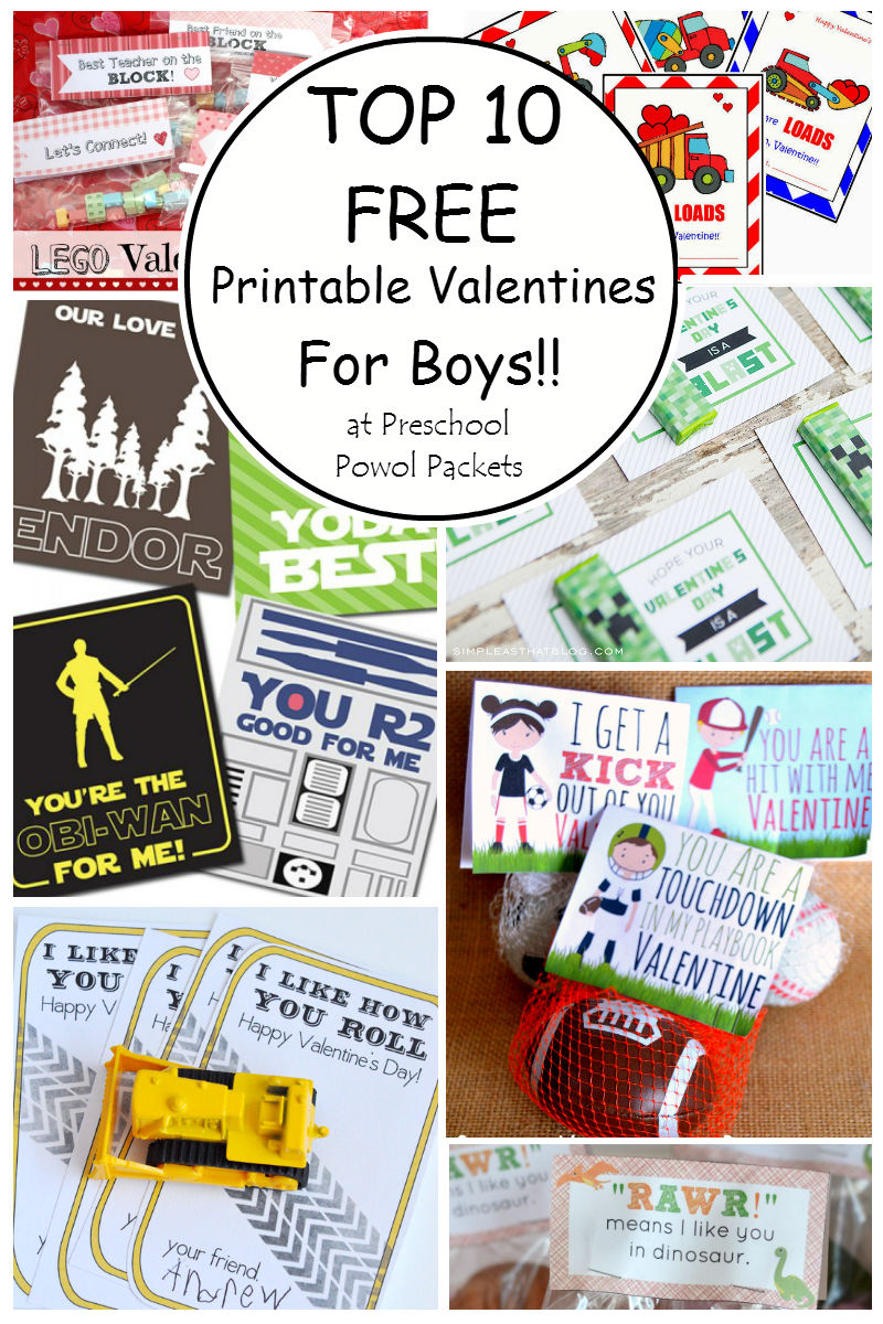 Top 10 {Free} Printable Valentines Cards For Boys! | Preschool Powol - Free Printable Valentines For Kids