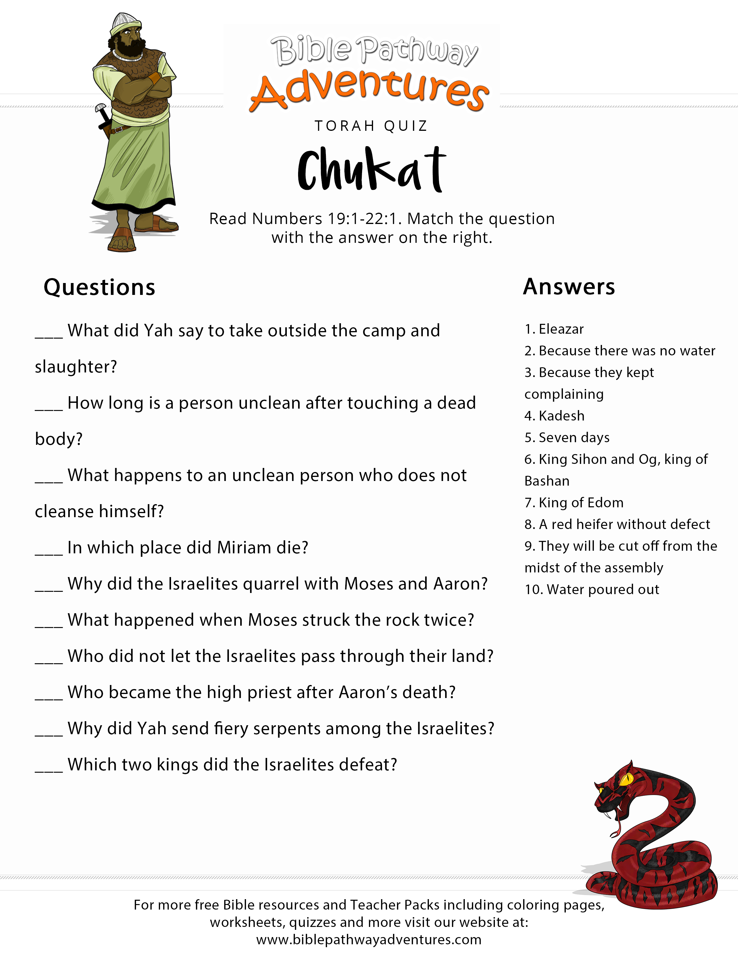 Torah Portion Quiz: Chukat (Numbers 19:1-22:1)   Bible Adventure - Free Printable Bible Study Lessons With Questions And Answers