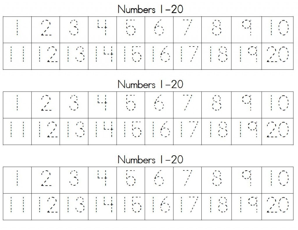 Trace Numbers 1 20 | Kiddo Shelter - Free Printable Numbers 1 20 Worksheets