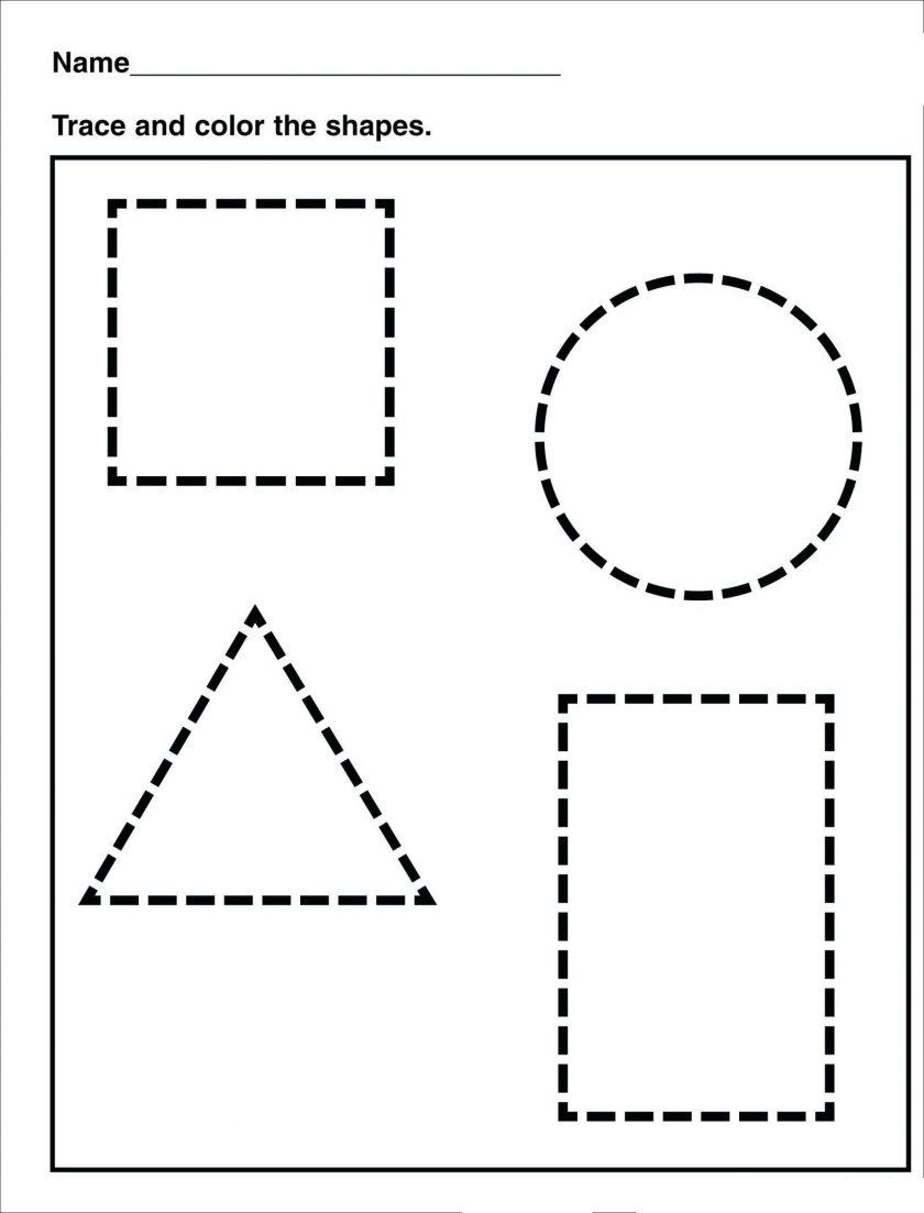 Tracing Shape Preschool Free Printable Worksheets Drawing Shapes - Free Printable Shapes Worksheets For Kindergarten