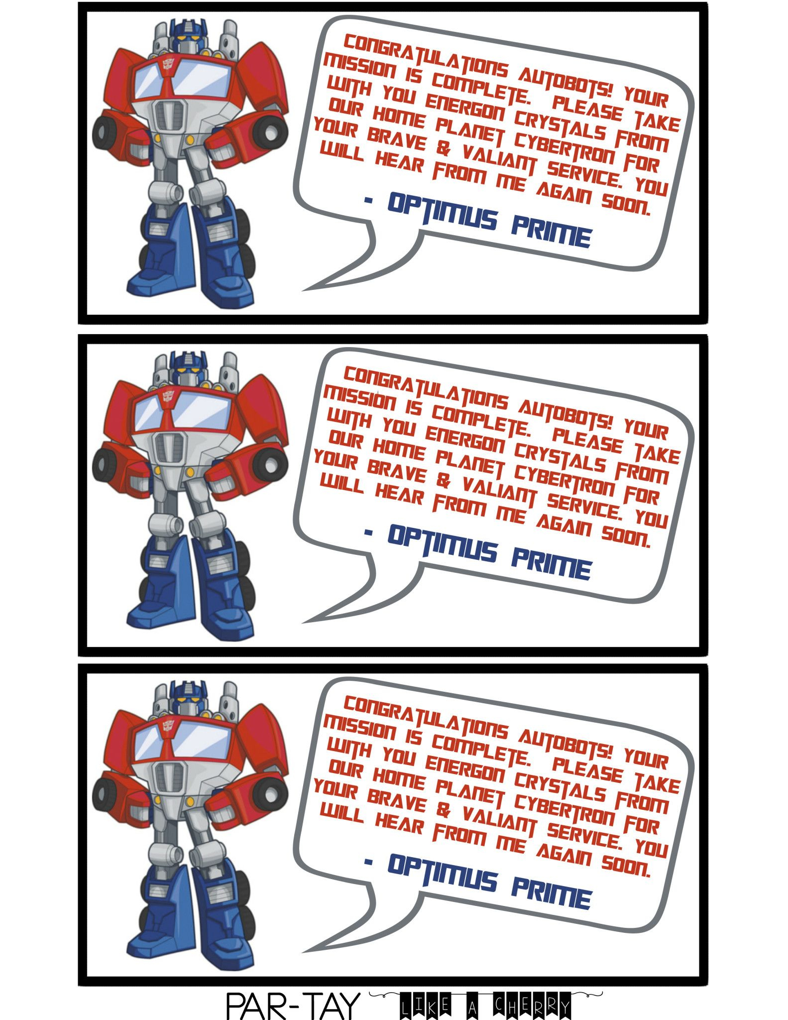 Transformer Party Favors   Party Like A Cherry   Transformer Party - Transformers Party Invitations Free Printable