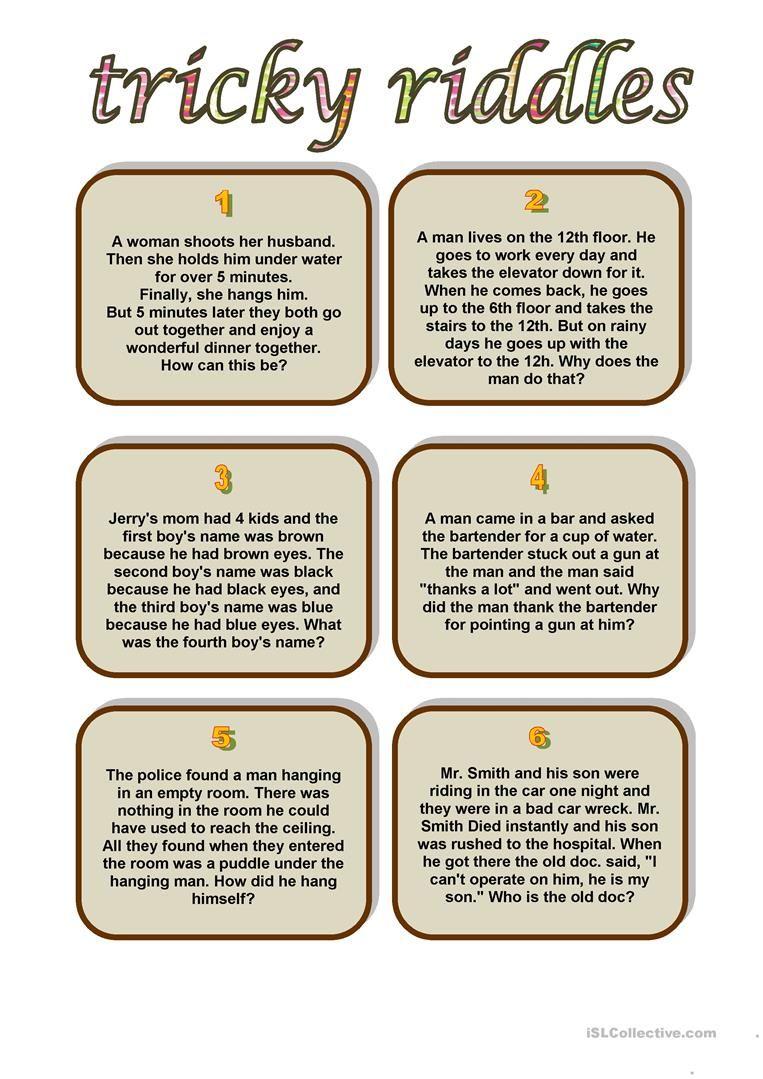 Tricky Riddles Worksheet - Free Esl Printable Worksheets Made - Free Printable Riddles