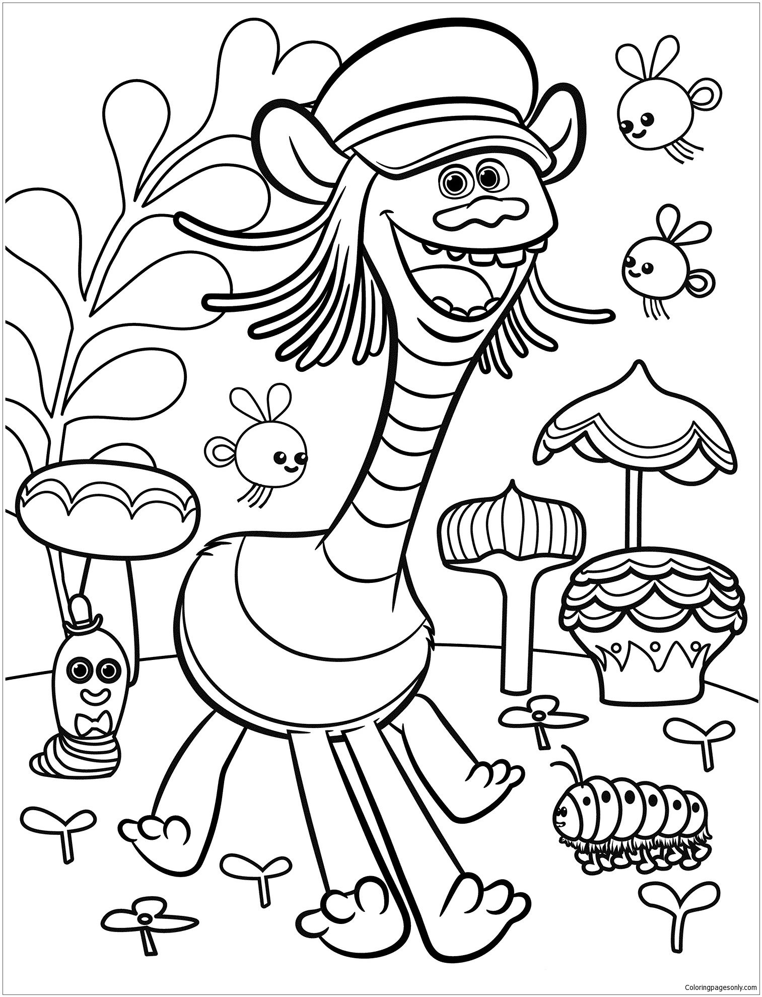 Trolls Movie 1 Coloring Page - Free Coloring Pages Online | Trolls - Free Printable Troll Coloring Pages