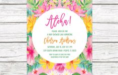 Tropical Baby Shower Invitation, Luau Baby Shower Invitation, Aloha - Free Printable Luau Baby Shower Invitations