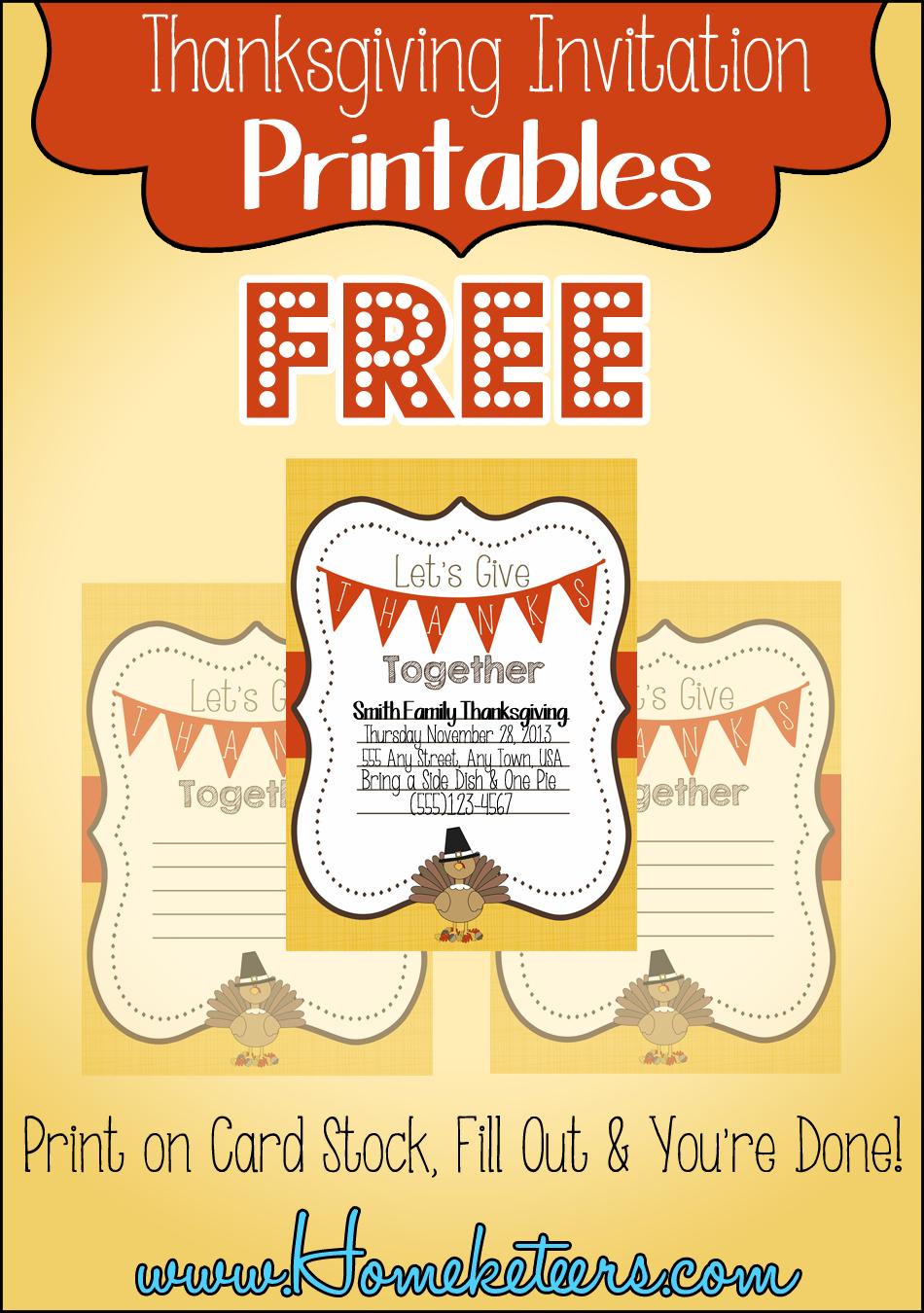 Turey Thanksgiving Invitation ~ Free Printable - Free Printable Thanksgiving Invitations