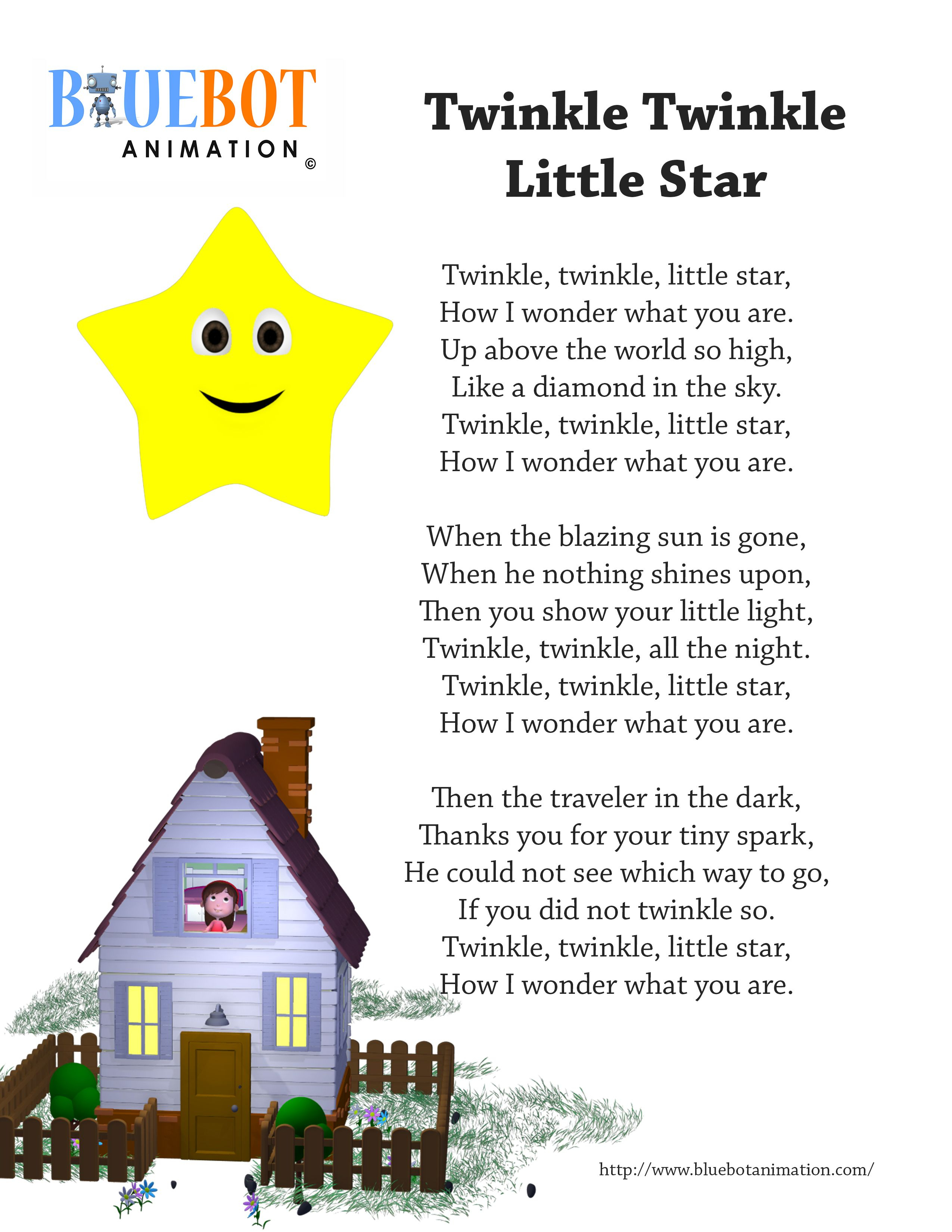 Twinkle Twinkle Little Star Nursery Rhyme Lyrics Free Printable - Free Printable Nursery Rhymes