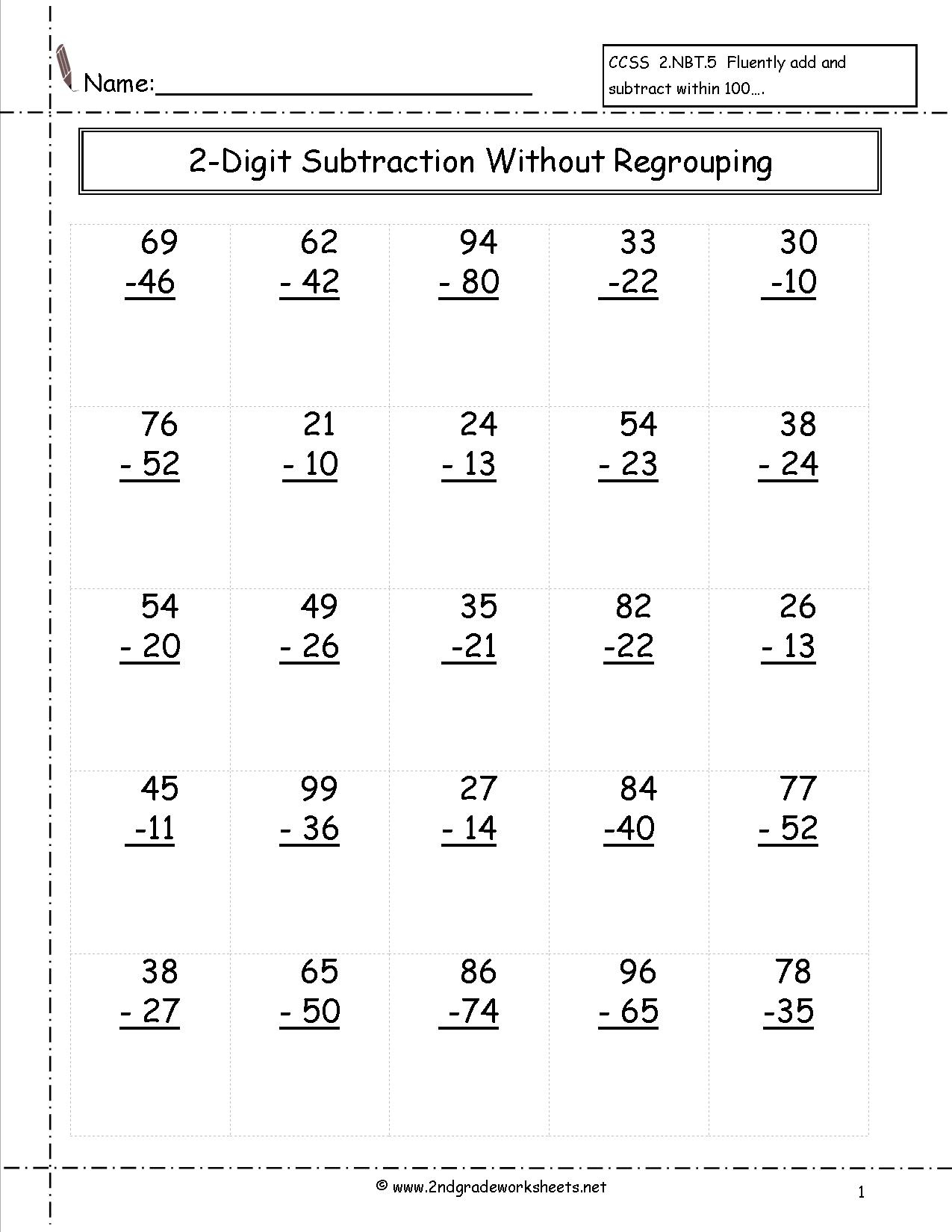 Two Digit Subtraction Worksheets - Free Printable Subtraction Worksheets For 2Nd Grade