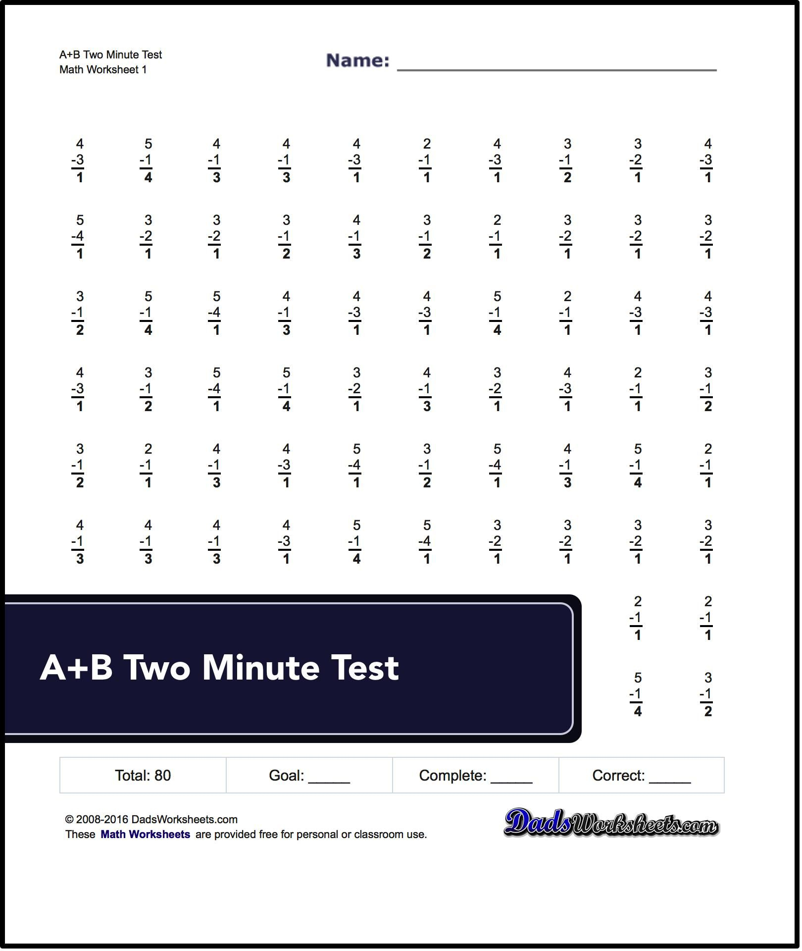 Two Minute Versions Of The Spaceship Math Subtraction Worksheets - Free Printable Multiplication Worksheets 100 Problems