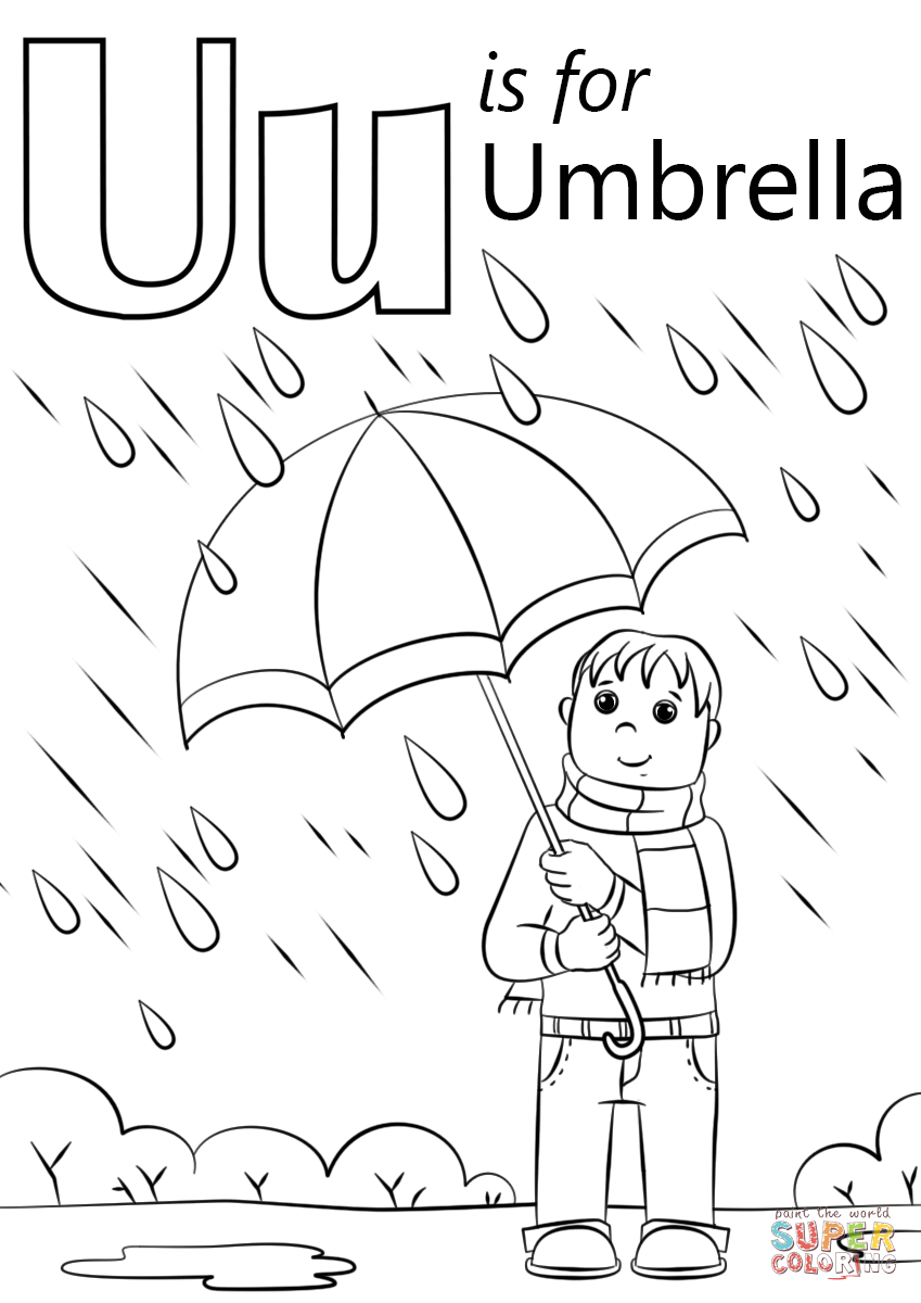 U Is For Umbrella Coloring Page | Free Printable Coloring Pages - Free Printable Letter U Coloring Pages