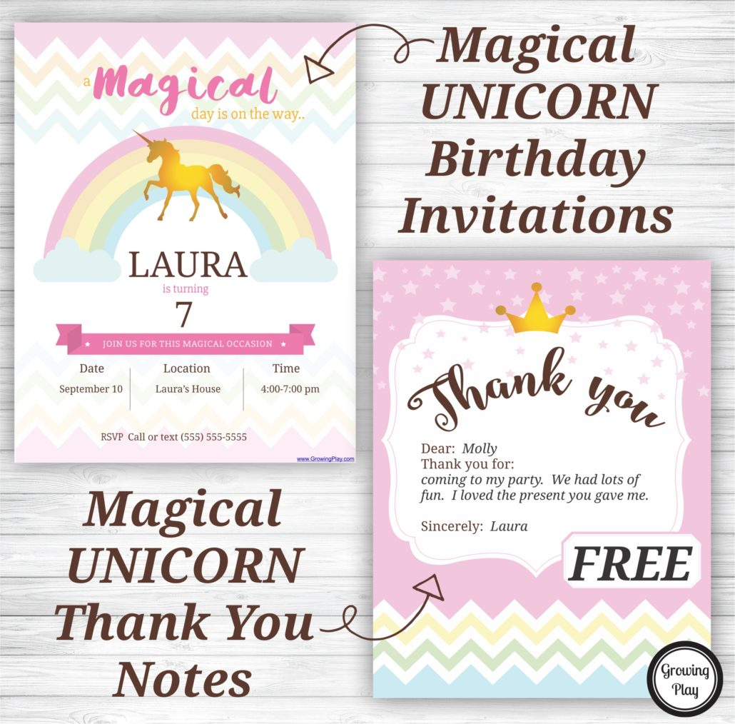 Unicorn Birthday Party Invitations And Thank You Notes - Free - Free Printable Birthday Party Flyers