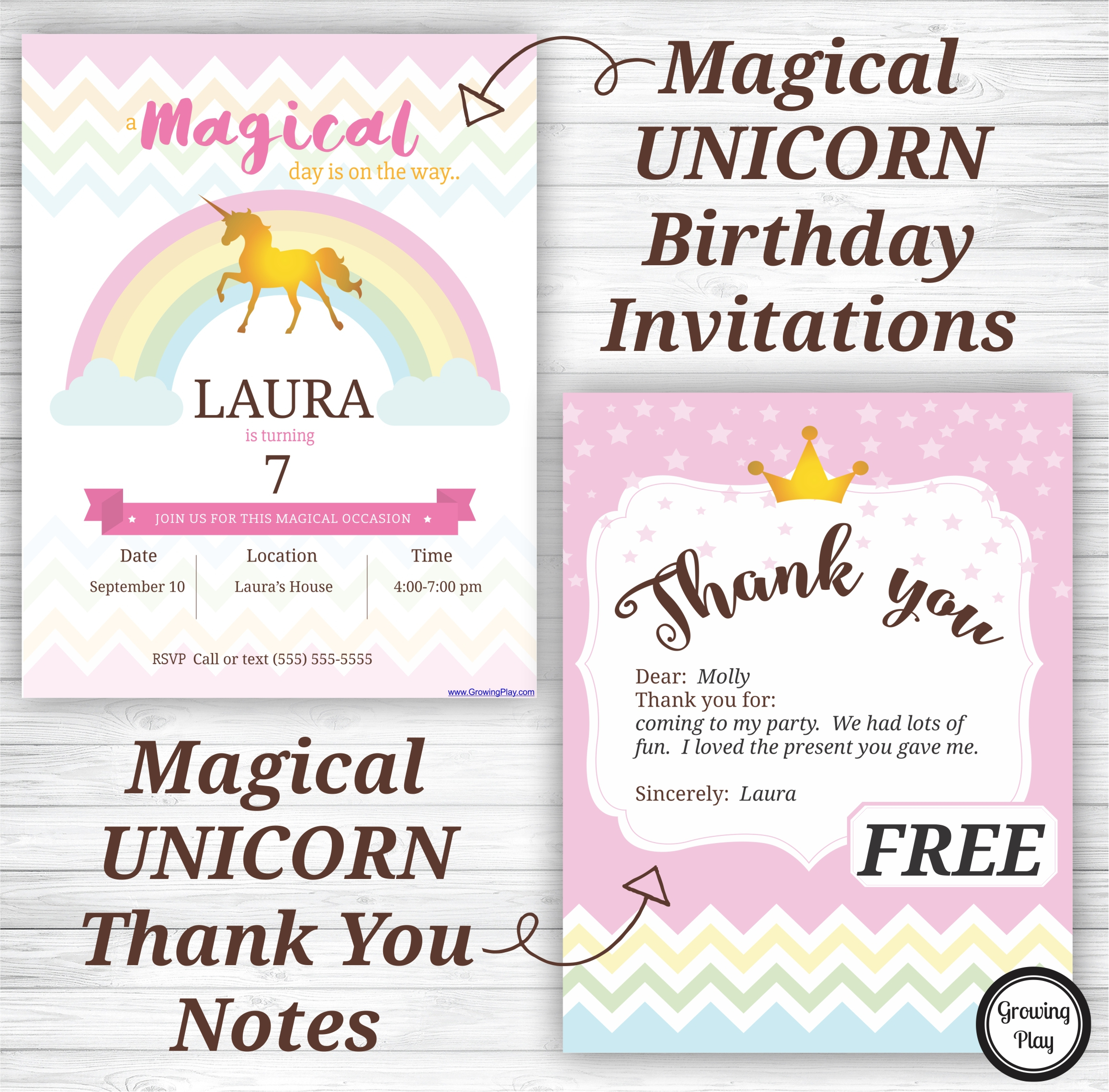 Unicorn Birthday Party Invitations And Thank You Notes - Free - Play Date Invitations Free Printable