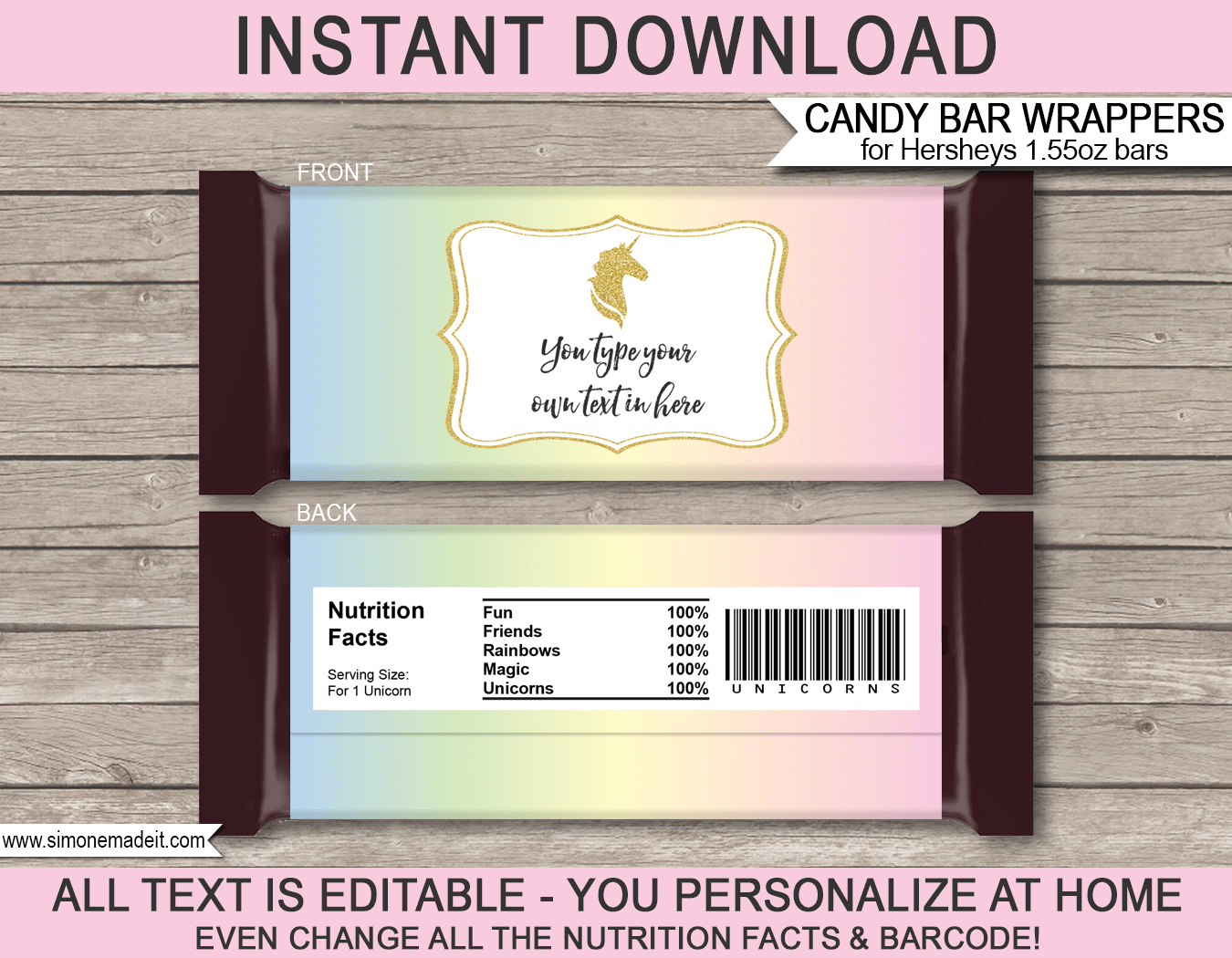 Unicorn Candy Bar Wrappers Template - Free Printable Chocolate Wrappers