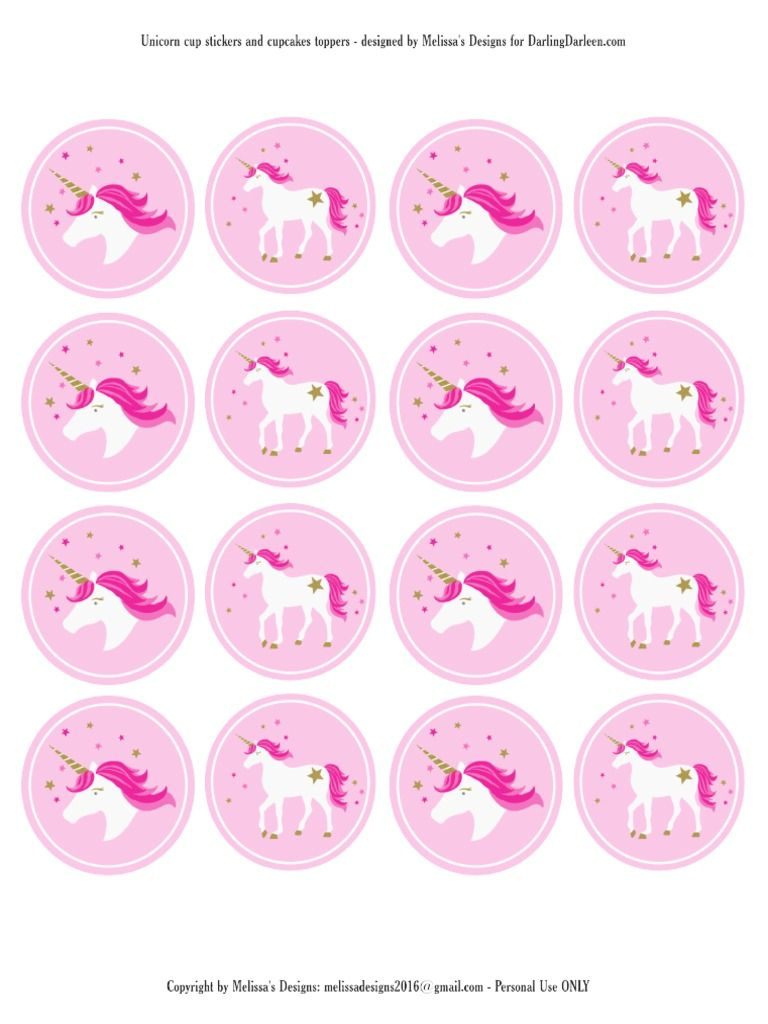 Unicorn Stickers & Cupcake Toppers | Party: Unicorn | Pinterest - Free Printable Unicorn Cupcake Toppers