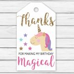 Unicorn Thank You Tags Printable Printable Unicorn Thank You Tags   Free Printable Thank You Tags For Birthday Favors