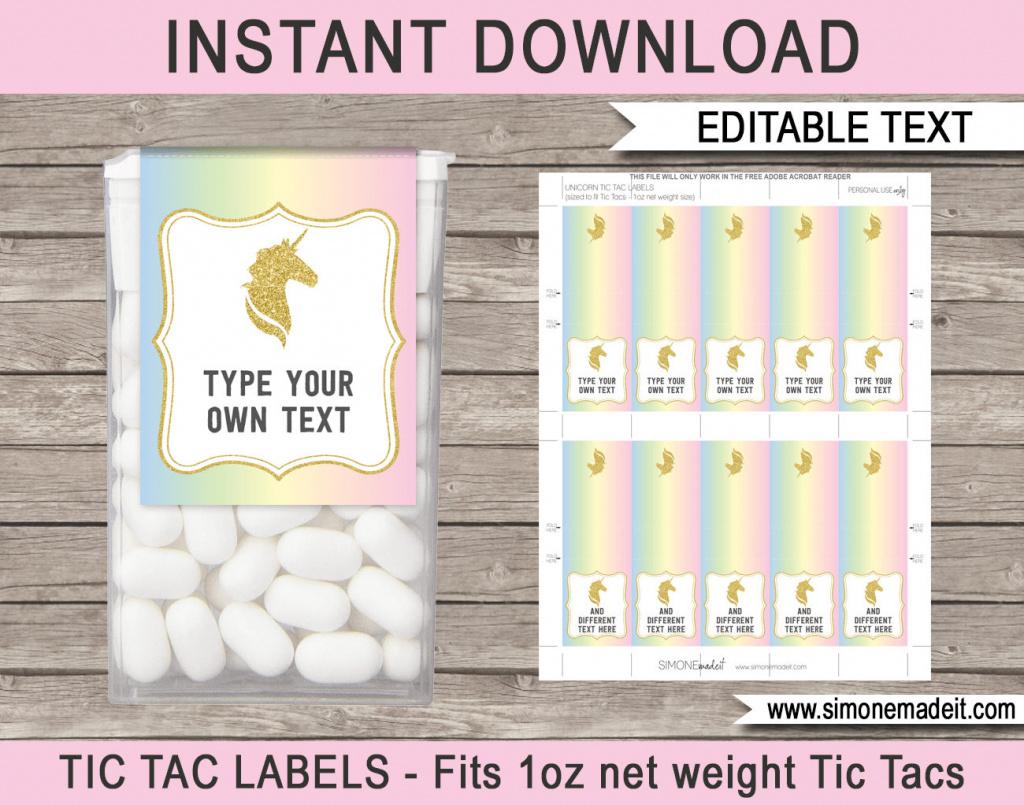 Unicorn Theme Party Favors Printable Tic Tac Labels | Etsy - Free Printable Tic Tac Labels
