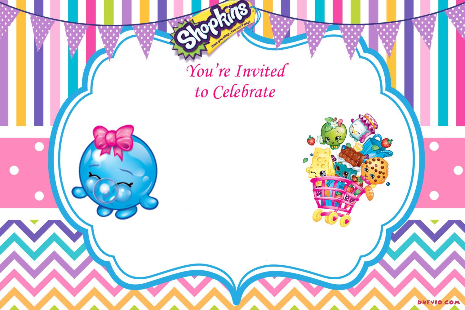 Updated - Free Printable Shopkins Birthday Invitation | Event - Free Printable Shopkins Invitations
