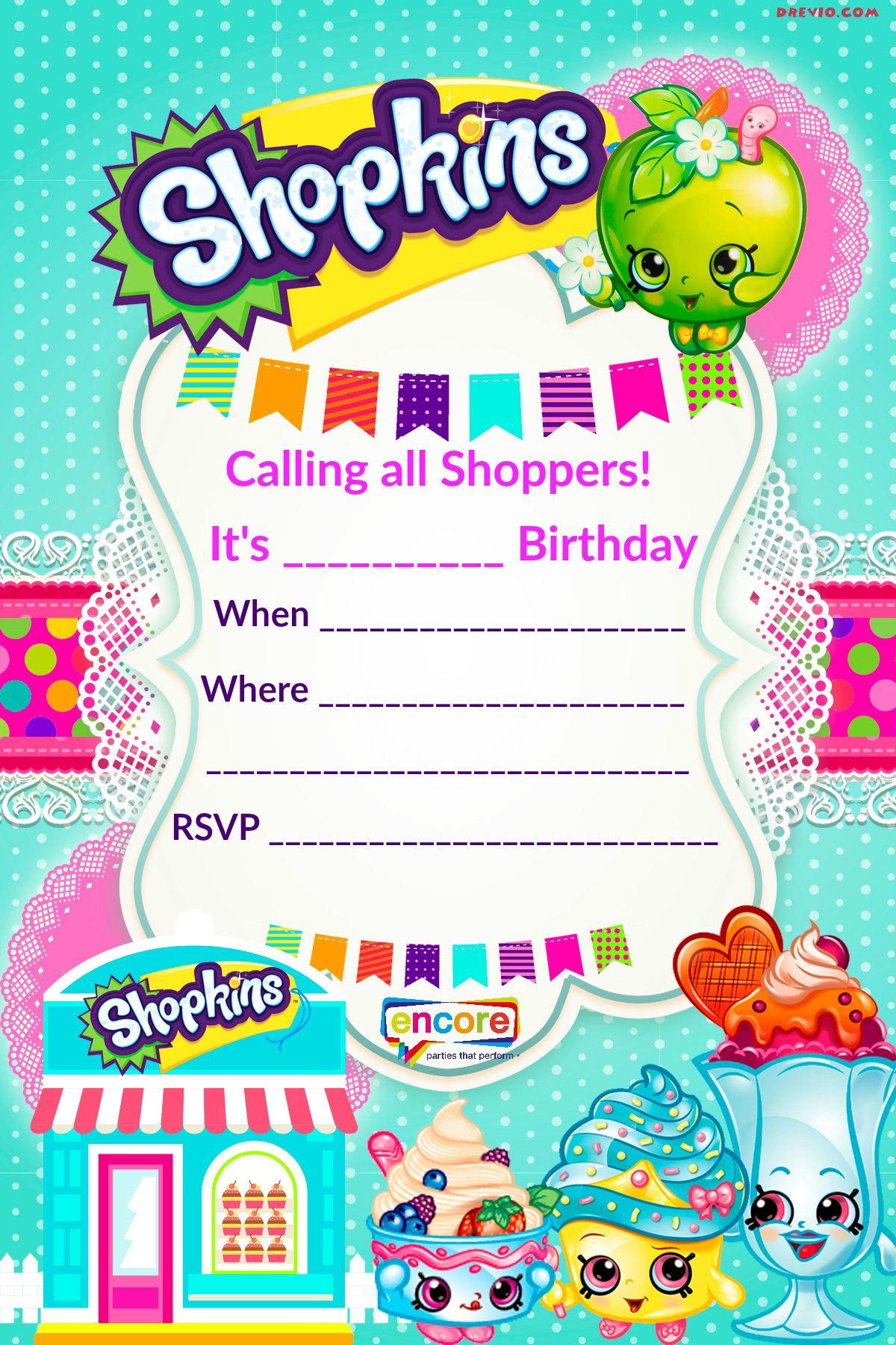 Updated – Free Printable Shopkins Birthday Invitation Template - Free Printable Shopkins Thank You Cards