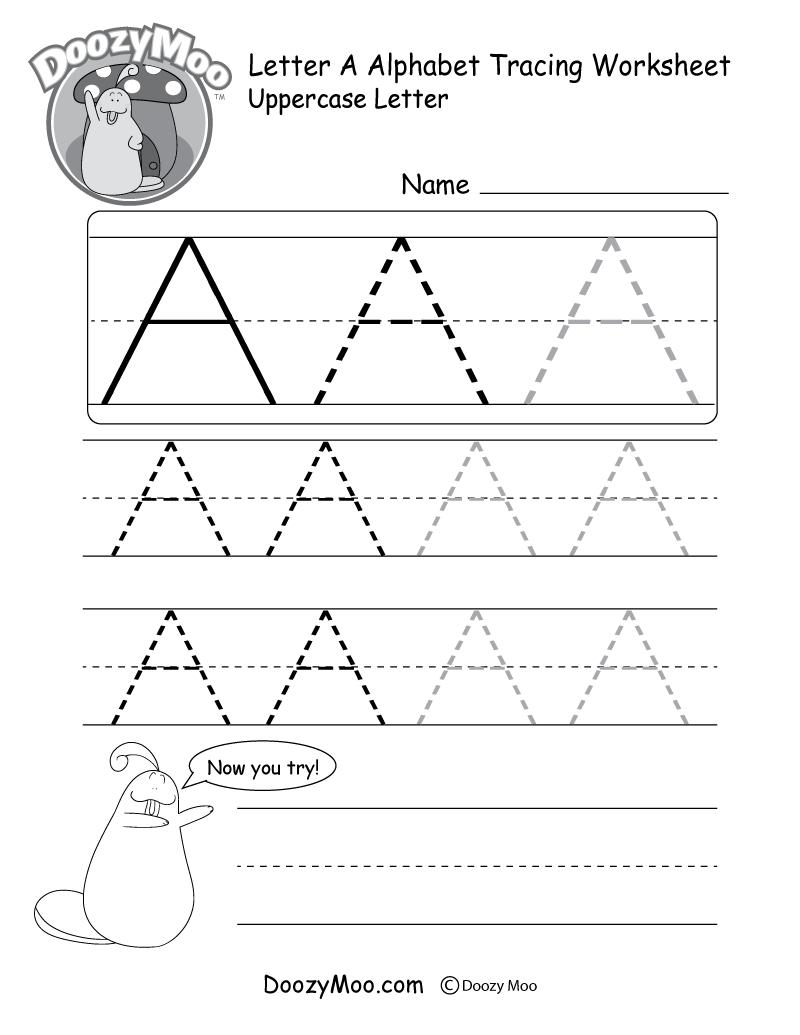 Uppercase Letter Tracing Worksheets (Free Printables) - Doozy Moo - Free Printable Alphabet Tracing Worksheets For Kindergarten