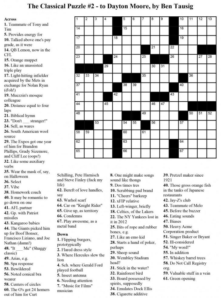 Free Printable Crosswords Usa Today
