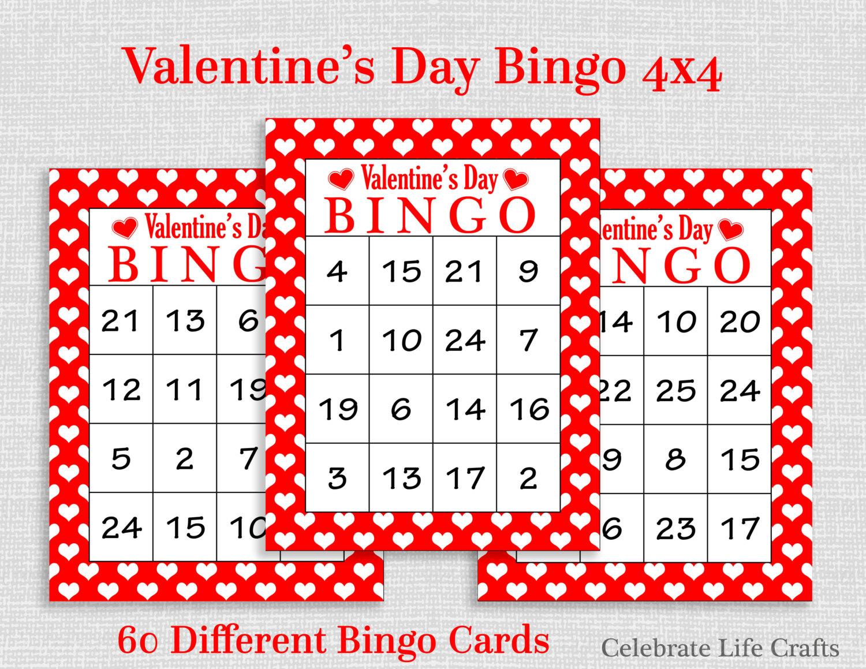 Valentine Bingo Game 60 Printable Valentine's Bingo   Etsy - Free Printable Valentines Bingo