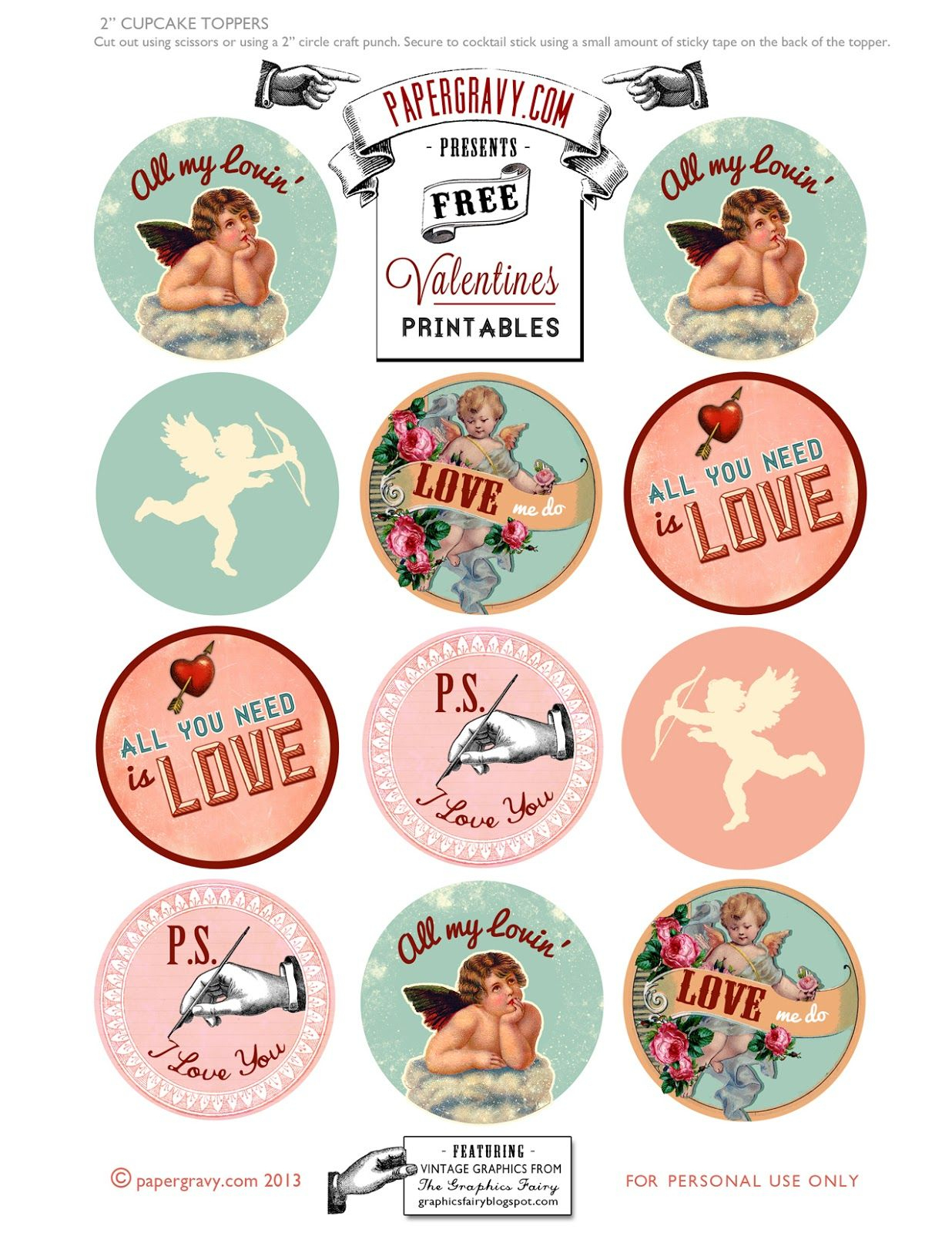 Valentine Printables - Labels - Flags - Cupcake Toppers | Toppers - Free Printable Valentine Graphics
