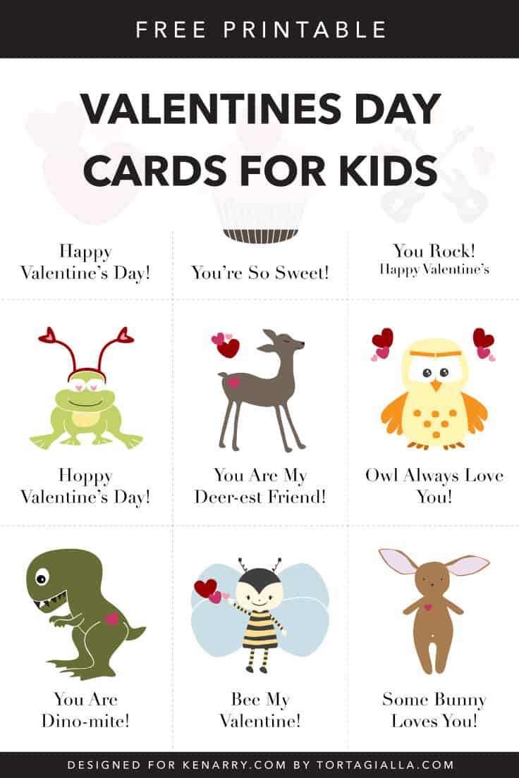 Valentines Day Cards For Kids: Free Printable Download | Kenarry - Free Printable Childrens Valentines Day Cards