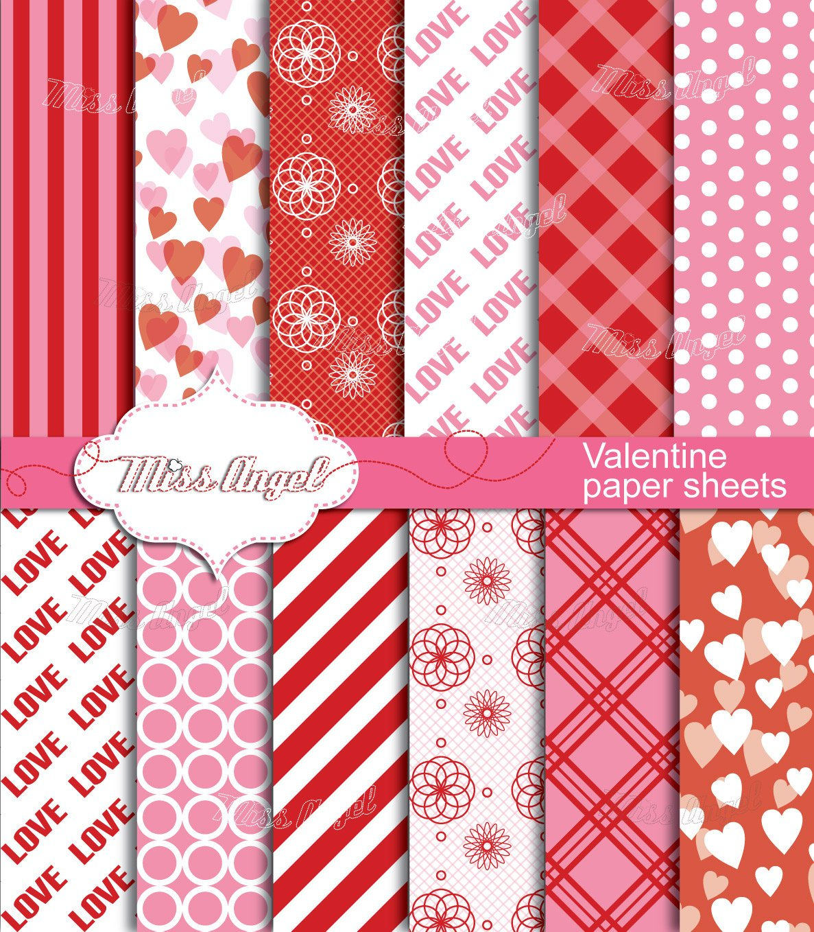 Valentines Digital Sheets. Buy 2 Get 1 Free Buy 4 Get 2 Free | Etsy - Free Printable Pattern Paper Sheets