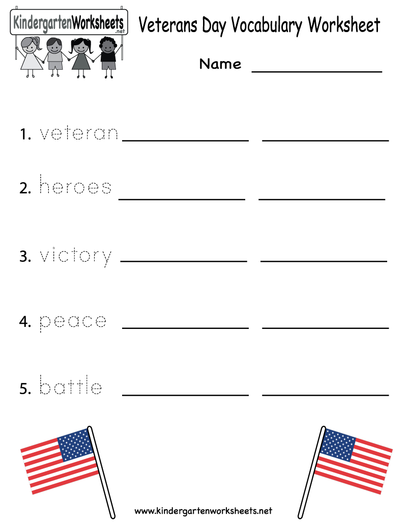 Veterans Day Vocabulary Worksheet - Free Kindergarten Holiday - Free Printable Presidents Day Worksheets