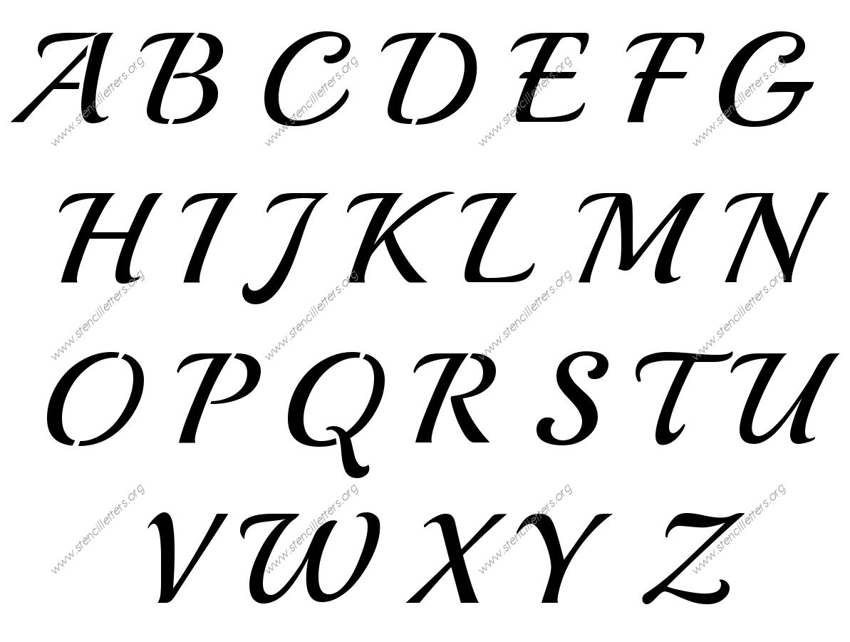 Vintage Calligraphy Uppercase & Lowercase Letter Stencils A-Z 1/4 To - Free Printable 12 Inch Letter Stencils