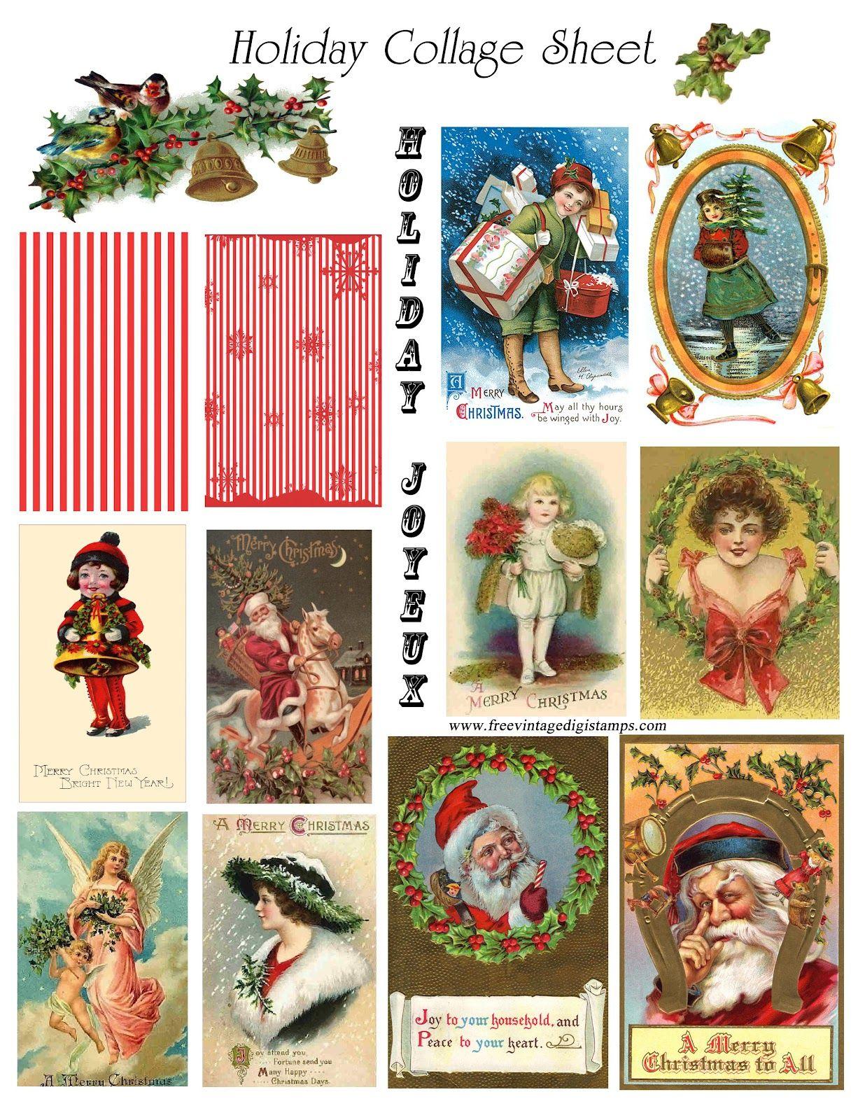 Vintage Cards Free   Free Vintage Digital Stamps**: Free Vintage - Free Printable Christmas Photo Collage