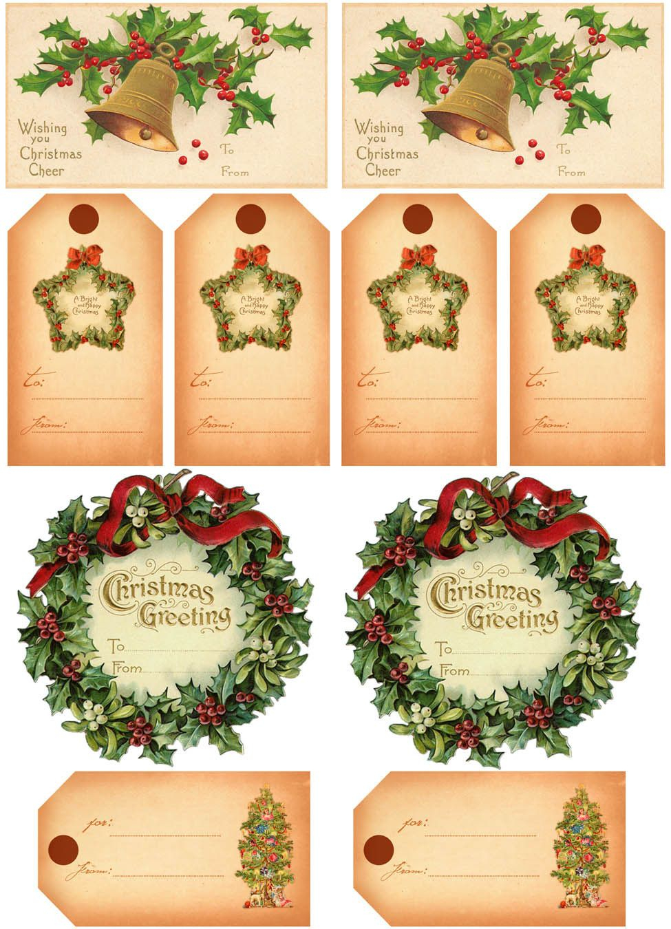 Vintage Christmas Gift Tags | Vintage Printables | Christmas Gift - Free Printable Vintage Christmas Pictures