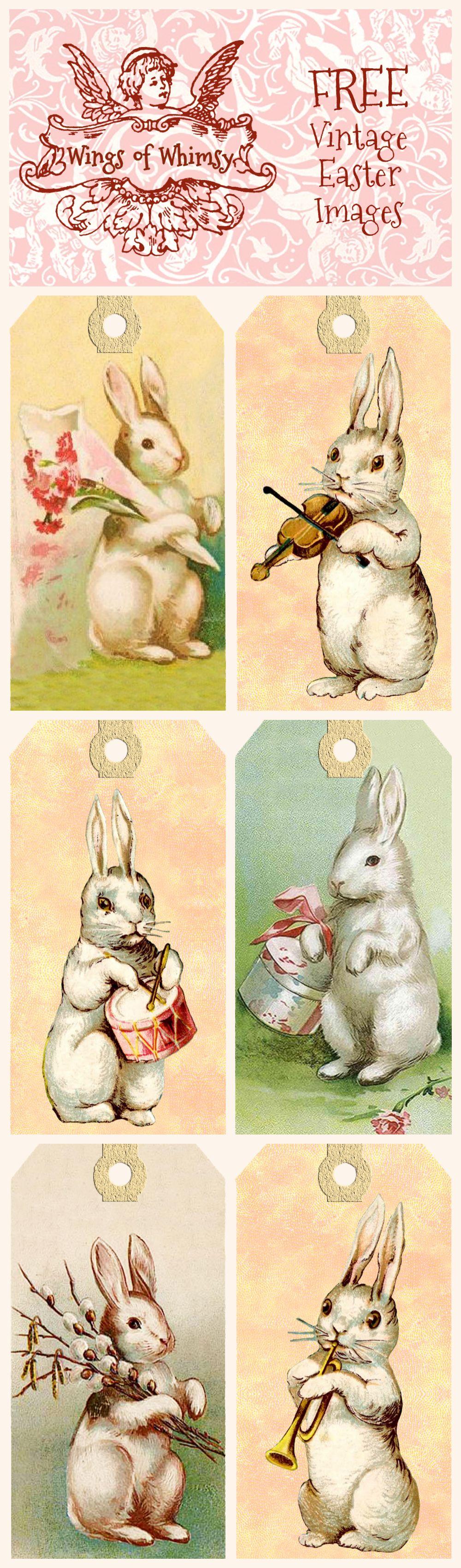 Vintage Easter Bunny Tags – Free Printables   Easter   Easter - Free Printable Vintage Easter Images