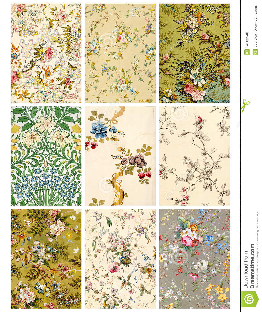 Vintage Floral Collage Sheet Or Tags Stock Illustration - Free Printable Picture Collage