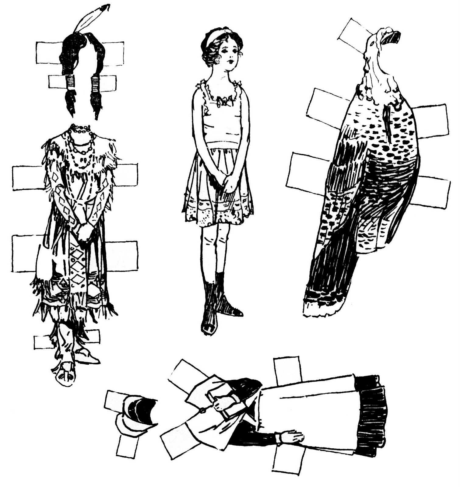 Vintage Kids Printable - Thanksgiving Paper Dolls - Cut And Color - Free Printable Paper Dolls Black And White