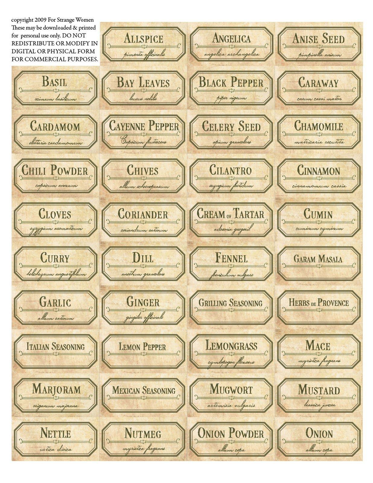 Vintage Spice Jar Labels. Free Printable Label Templates. | Spice - Free Printable Spice Labels