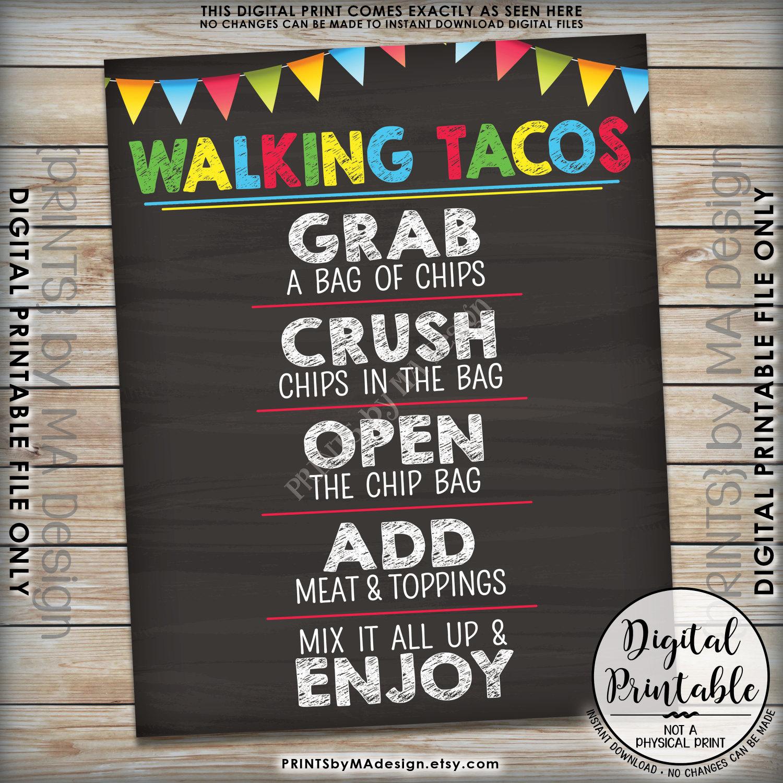 Walking Tacos Taco Bar Taco Sign, Cinco De Mayo Sweet Sixteen - Free Printable Taco Bar Signs