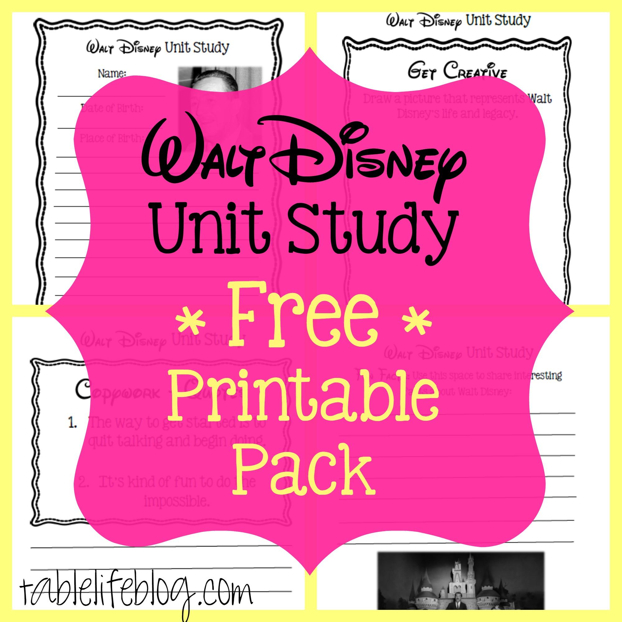 Walt Disney Unit Study (With Free Printable!) - Tablelifeblog - Free Printable Disney Stories