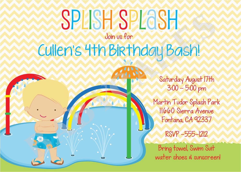 Water Park Birthday Invitations   Birthdaybuzz - Free Printable Water Park Birthday Invitations