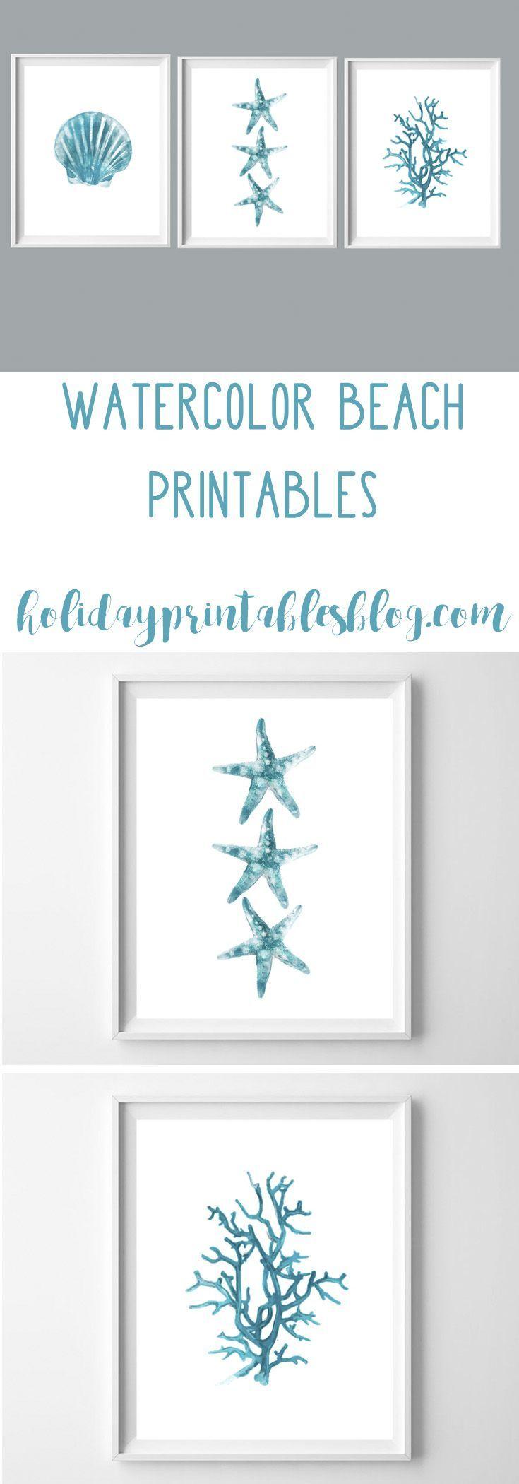Watercolor Beach Printables | Free Printable Art | Beach House - Free Printable Decor